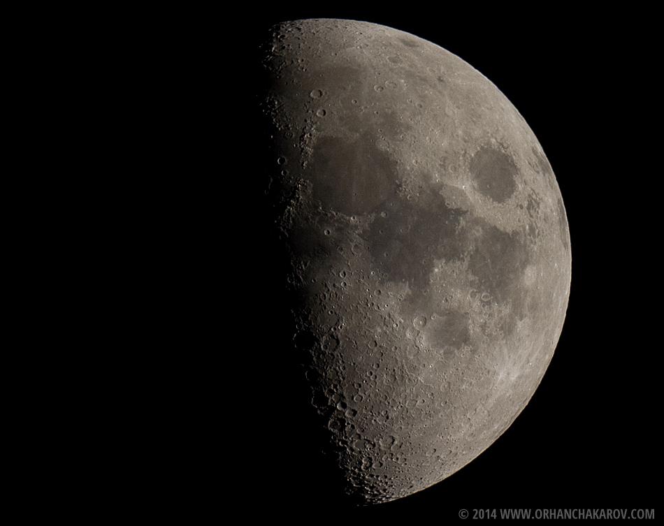 Луната заснета в главния фокус на телескоп. Фотограф - Орхан Чакъров, град Варна